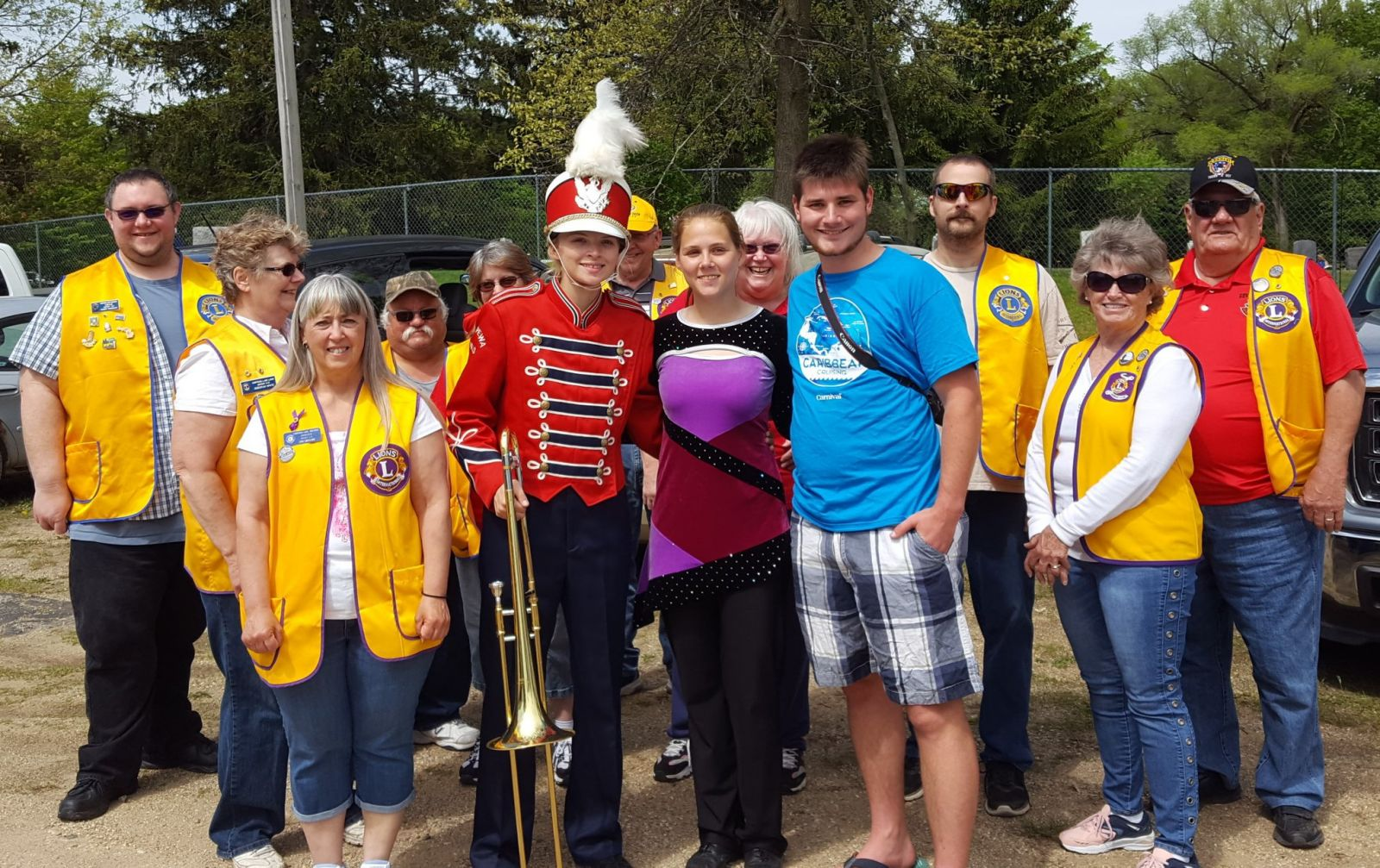 Chippewa Hills All state band students with chippewa lake mecosta lions club after parade
