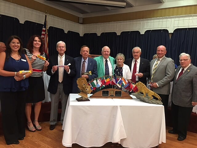 Newly elected Board of the Winchester Host Lions Club. From left to right Christine Germeyer, Lion Tamer; Sabra Veach, Director, Dale Barley, 1st VP; Don Lingo, President; Don Vaden, Immed. Past President; Caz Zuckerman, Secretary/ David Andre, Treasurer; Fred Riley, 2nd VP; Bill Shendow, Membership Director