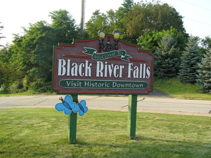 Welcome to Black River Falls sign