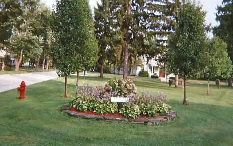 flower bed maintained by Willoughby Lions Club