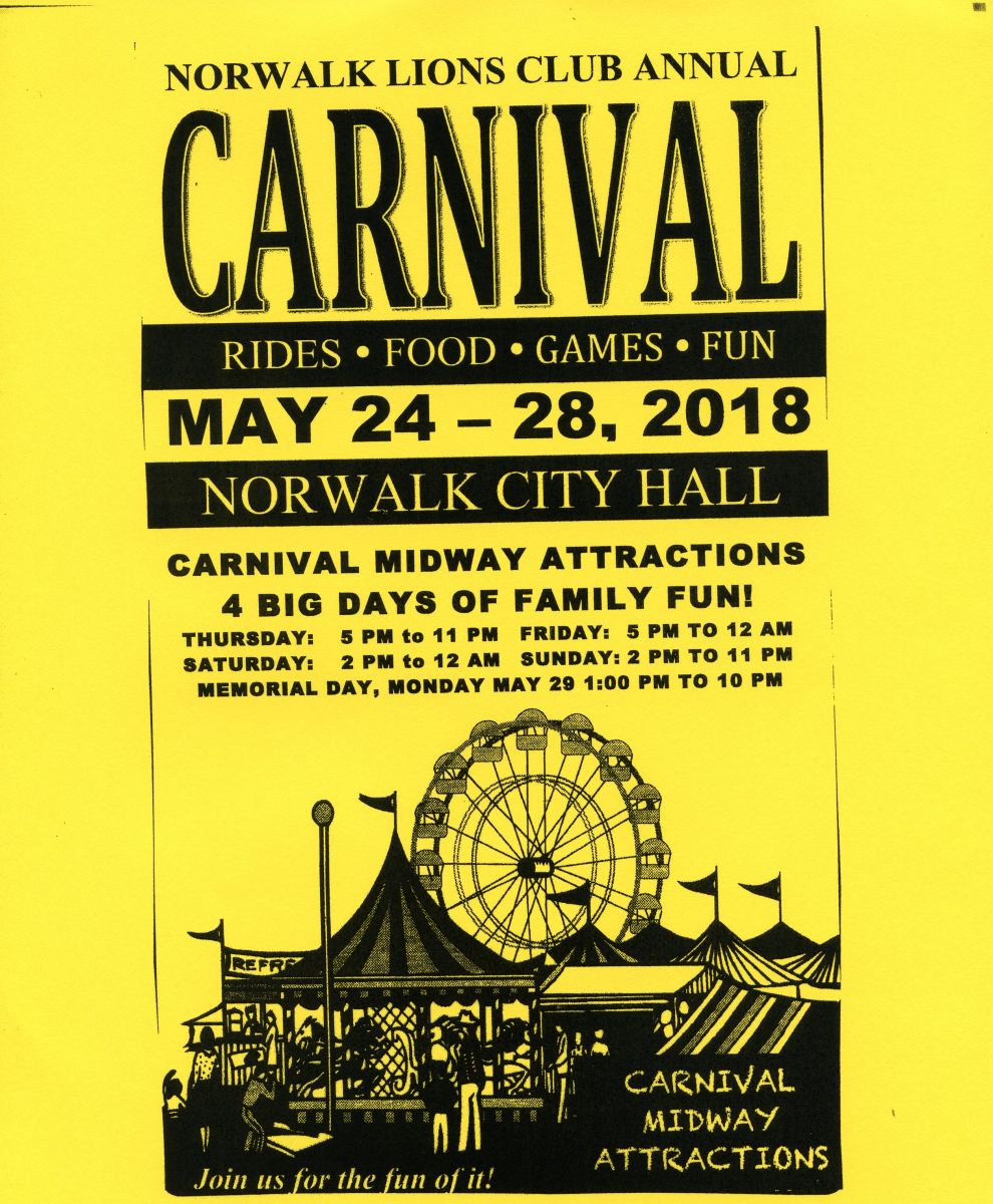 Norwalk Lions Club Annual Carnival May 24-28 2018