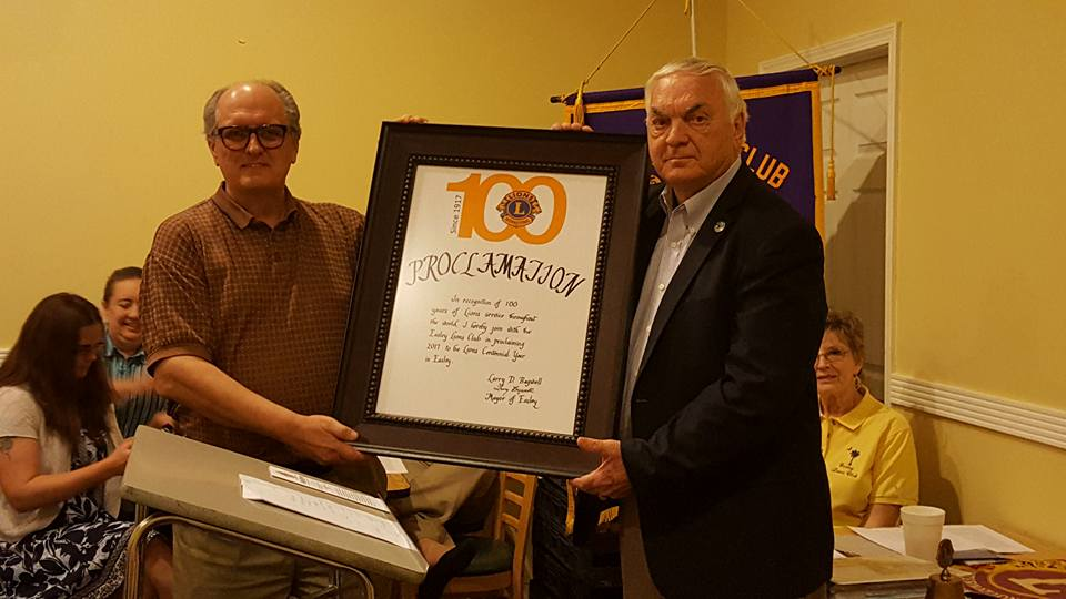 Lion Bill Whitlock and Mayor Larry Bagwell 100 Year Proclamation
