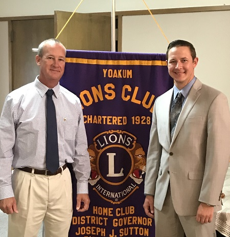 On Tuesday, October 17, 2017, The Yoakum Lions Club held their weekly noon meeting at the First United Methodist Church in Yoakum. The program was Jake Jalufka, with the Shiner Lions CLub, who spoke about the upcoming Shiner Music Fest.  Pictured are Lion Chris Kvinta and Lion Jake Jalufka.