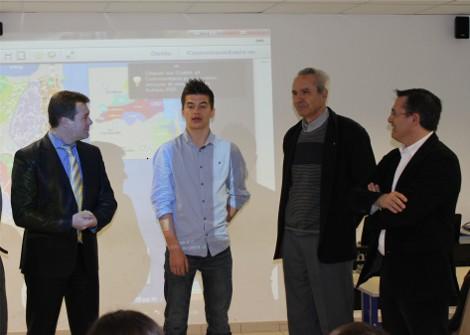 Stéphane CALVO, un élève, Thierry DEL POSO et Jean-Claude MIR,  past-président