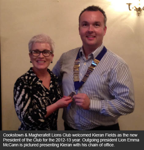 Lions Club President Kieran Fields recieves his chain of office
