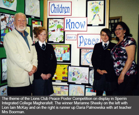 Cookstown and Magherafelt Lions Club Peace Poster Winners from Sperrin Integrated College Magherafelt