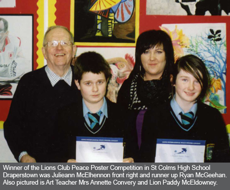St Colms High School Draperstown Cookstown and Magherafelt Lions Club Peace Poster Winners
