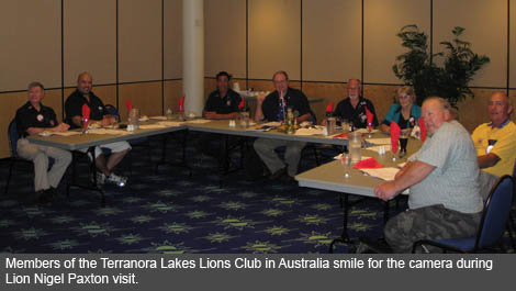 Members of the Terranora Lakes Lion Club make Lion Nigel Paxton feel very welcome to one of the clubs meetings.