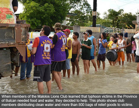 Lions helping out after natural disaster stricks the province of Bulcan.