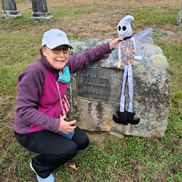Getting creative at the General Miller gravestone during the Scavenger hunt