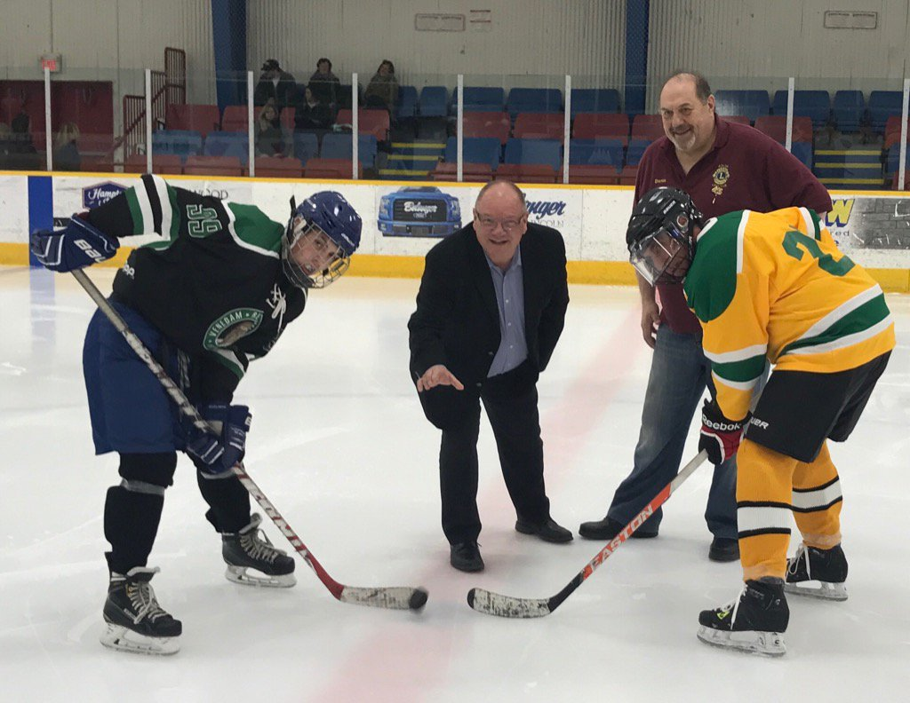 Mayor Brian Bigger drops the first puck to open the 34th Annual Family Hockey Tournament