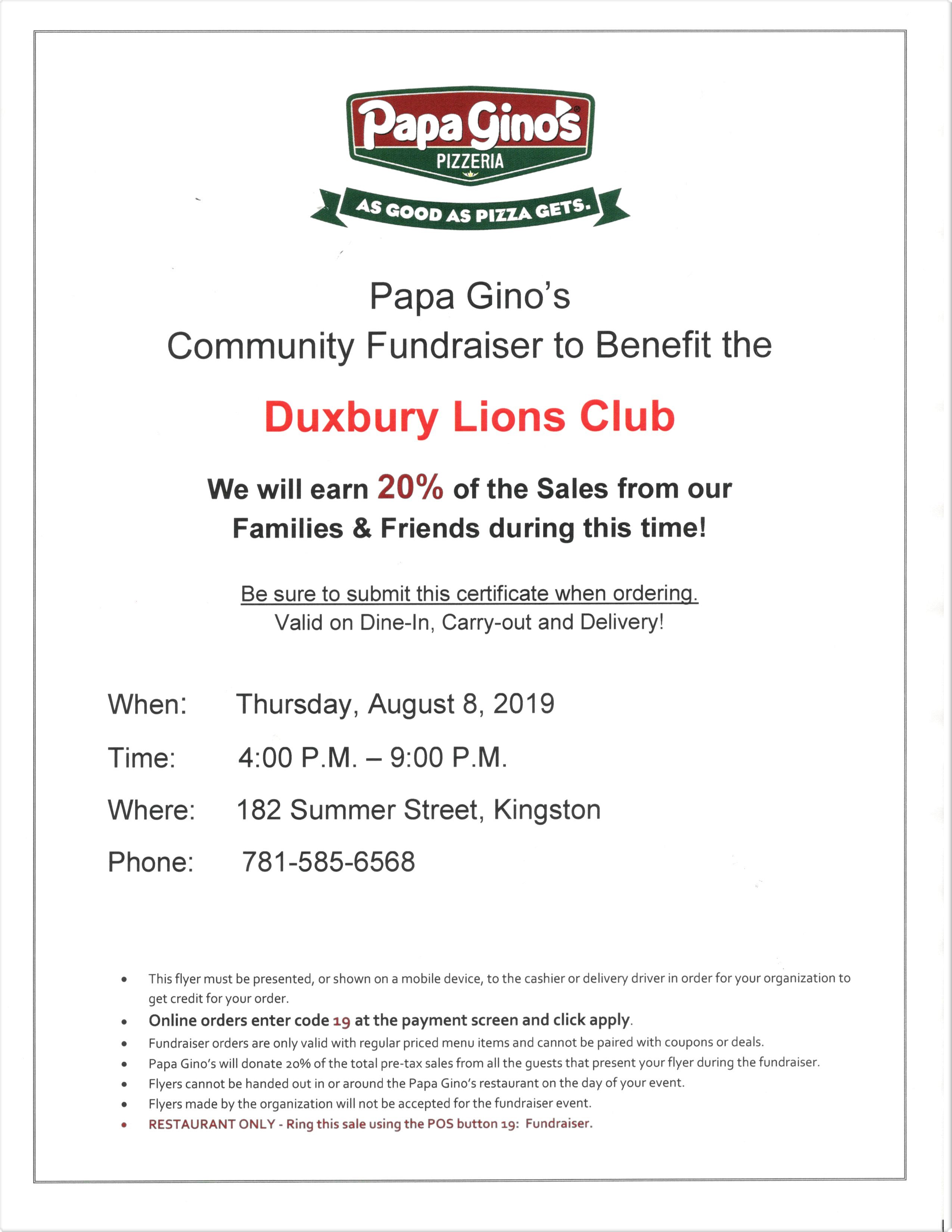 GET YOUR PIZZA, WATCH PATRIOTS KICK-OFF THE SEASON & SUPPORT DUXBURY LIONS CLUB!!!