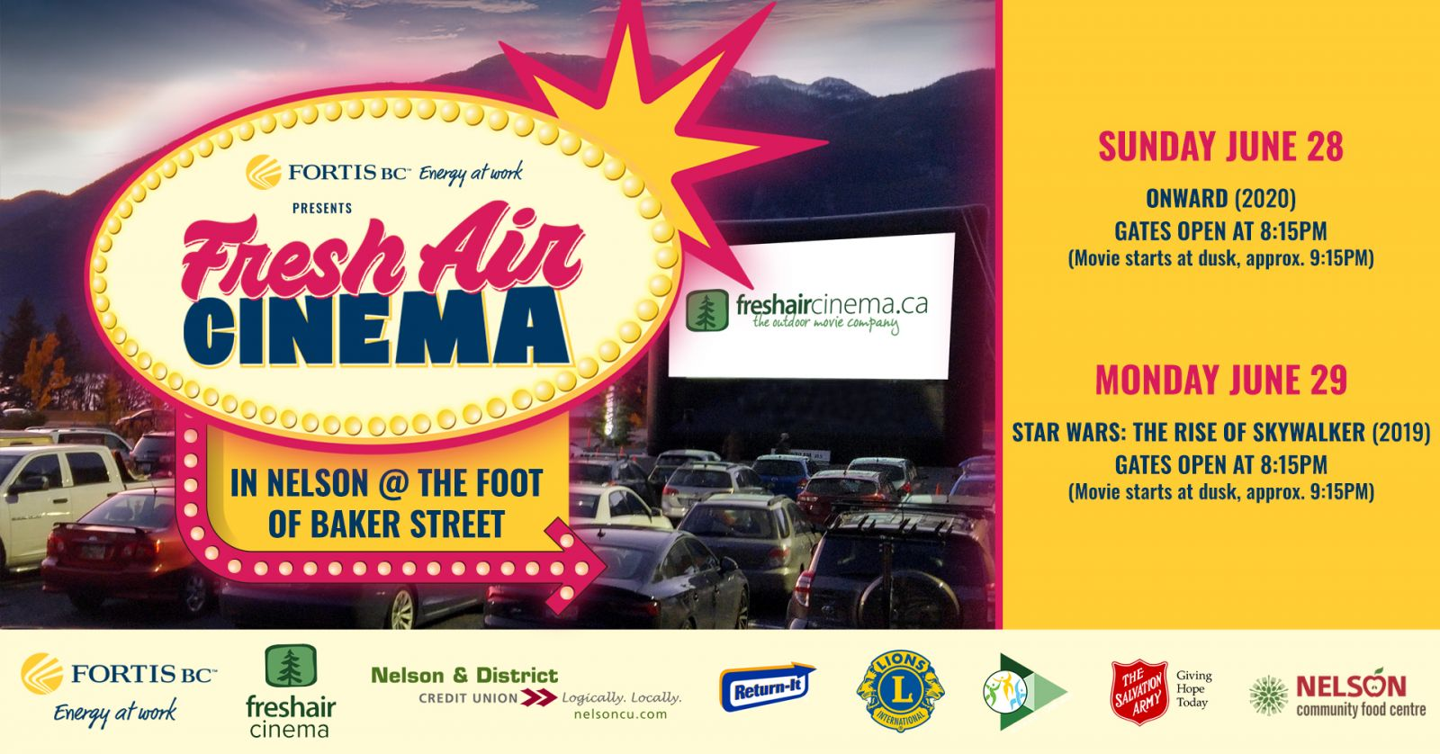 Nelson Lions, with Fresh Air Cinema & Fortis bring Onward and Star Wars to Nelson