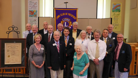 June 23, 2016: Frederick Lions Charter Anniversary Pictured left to right: Front Row: Gayle Sutch- Immediate Past President, J. Dick Basford-President , Joanne Russell, Herb Wolf, Skip Irwin, Second Row: Ed Higinbotham, Bill Clements, Bob Mason,  Carol Sharpe, D.