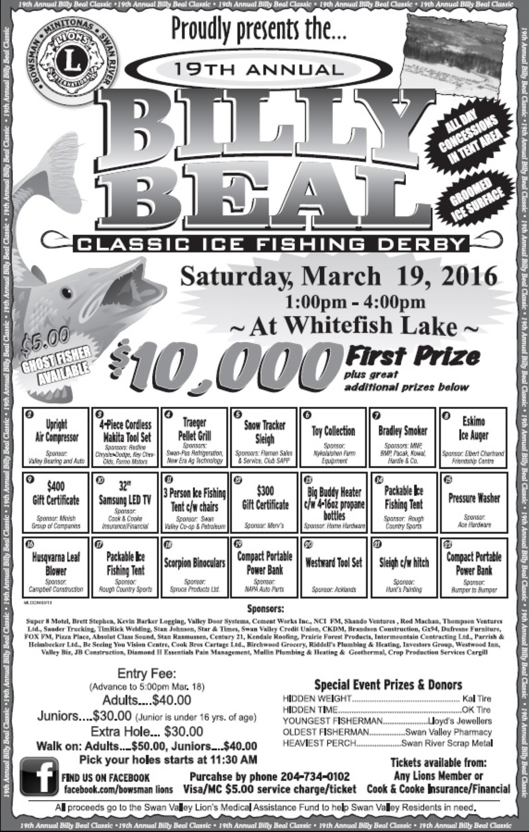 2016 Billy Beal Ice Fishing Derby poster